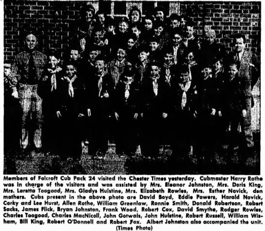 Bryon's Cub Scout Troop 03/12/1953 - Members of Folcroft Cub Pack 24 visited the...