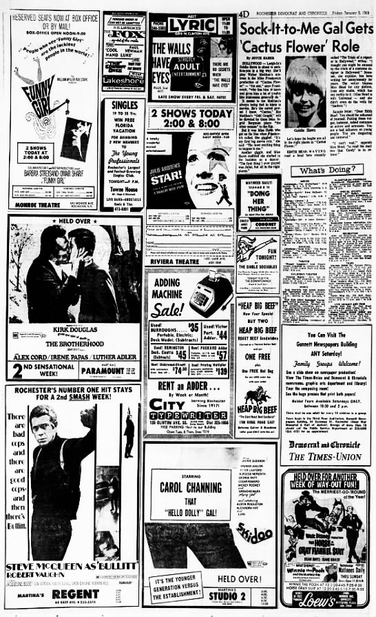 1969 movie listings - RESERVED SEATS NOW AT BOX OFFICE OR BY MAIL!...
