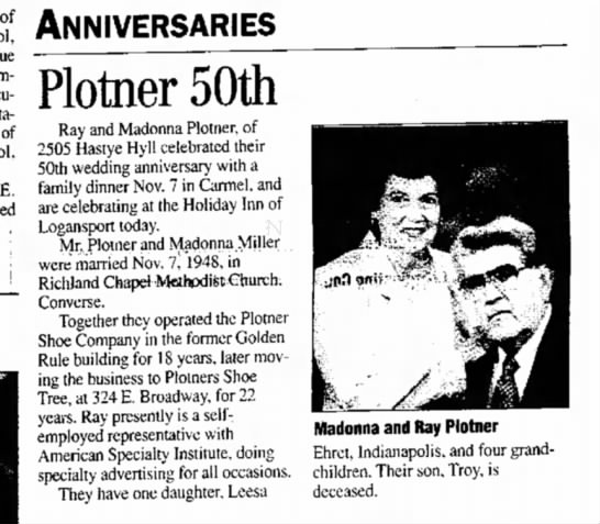 ray and madonna plotner - of station. of E. ; ANNIVERSARIES Plotner 50th...