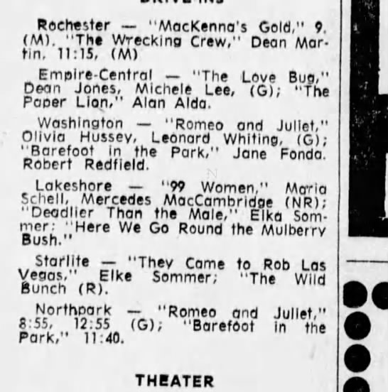"1969 movie listings - Rochester ""MacKenna's Gold,"" 9. (M). ""The..."