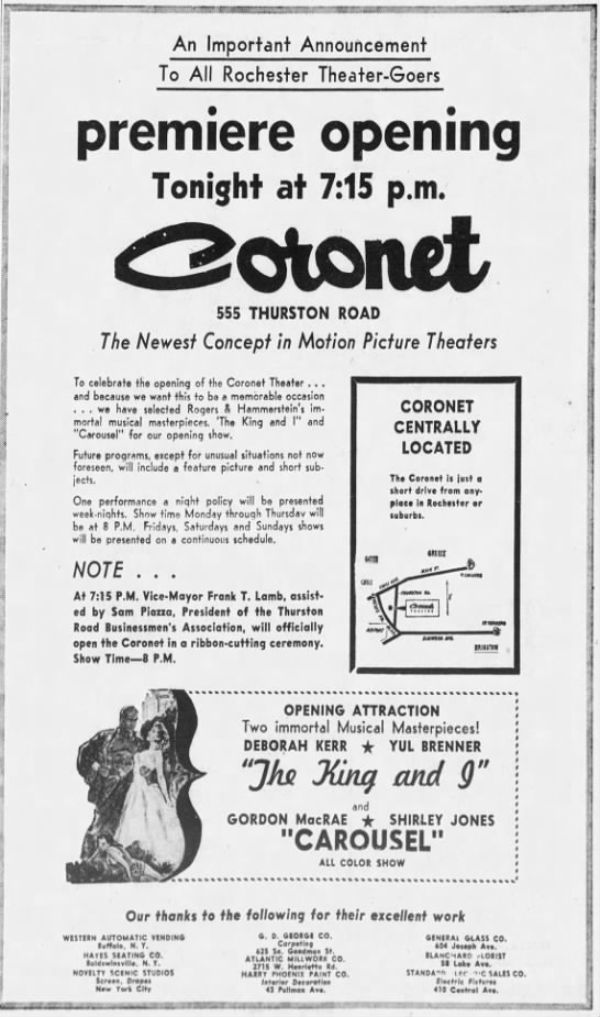 Coronet Theatre opening - An Important Announcement To All Rochester...