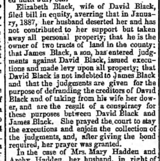 - Elizabeth Black, wife of David Black, filed...