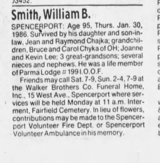Jean Harmor's Father Obit 2/2/1986 - Smith, William B. SPENCERPORT: Age 95. Thurs....