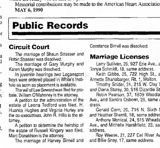 Constance and Eugene Harvey Birnell Divorce - Memorial contributions may be made to the...
