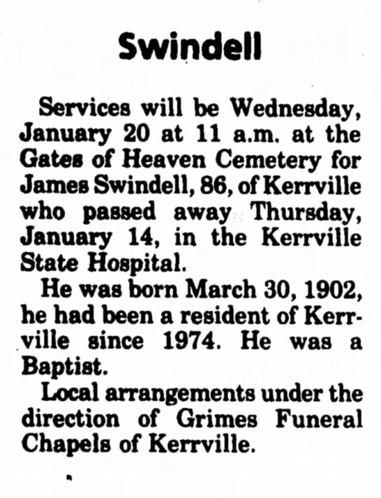 James Norval Swindell Obituary - Swindell Services will be Wednesday, January 20...
