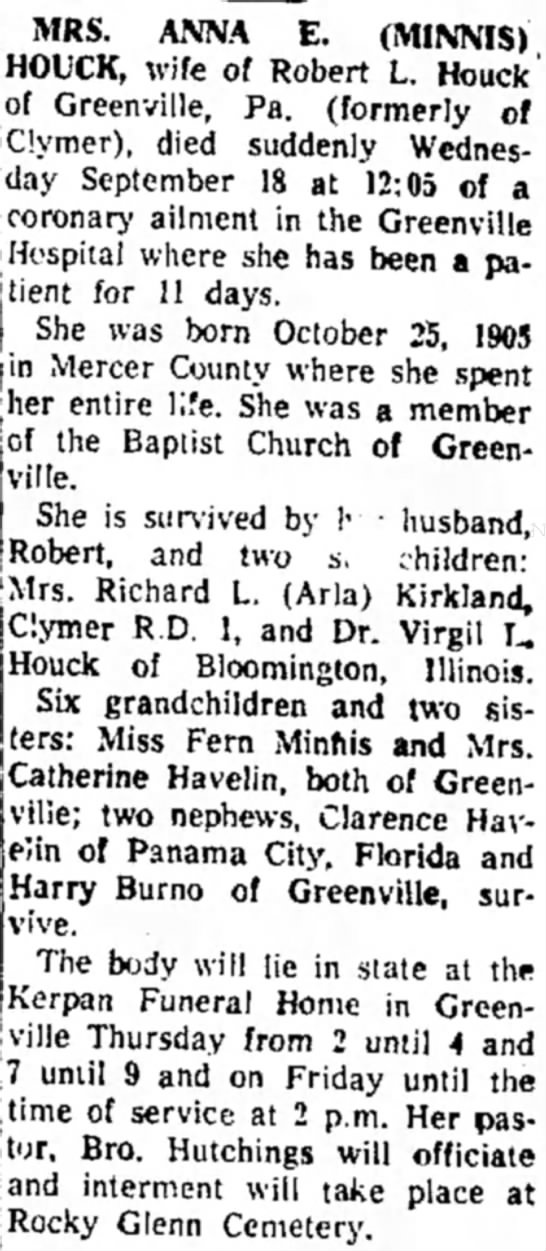 Anna Minnis Houck obit - MRS. ANNA E. (MINNIS) HOUCK, wife of Robert L....