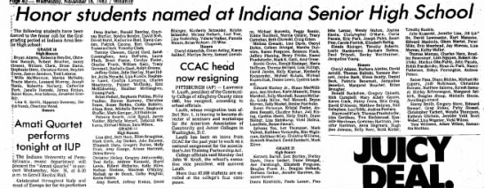 Honor Students Named at Indiana Senior High School - Pope 40 — Wednesdoy. November 16, 1983 /...