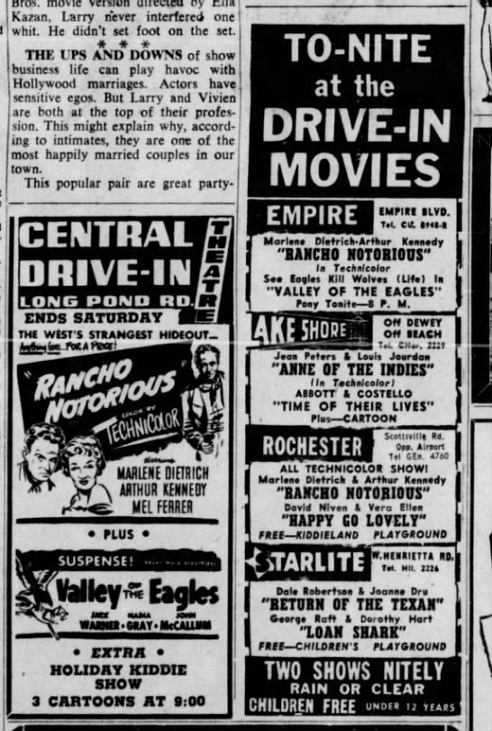 1952 drive-ins - I Kazan, Larry never interfered one whit. He...