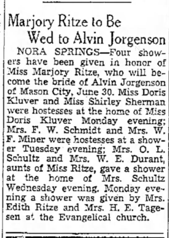 - Marjory Ritze to Be Wed to Alvm Jorgenson NORA...