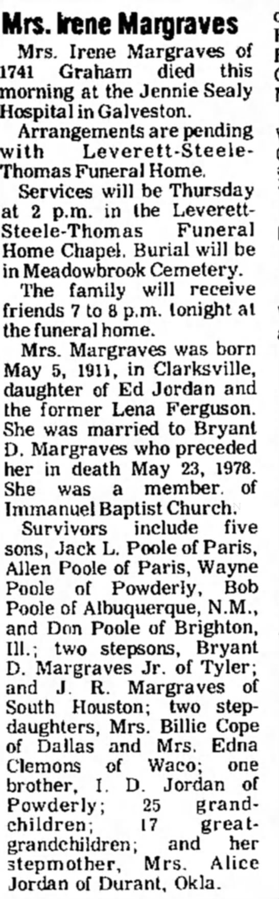 Obit Jordan, Eddie Irene - Mrs. Irene Margraves Mrs. Irene Margraves of...