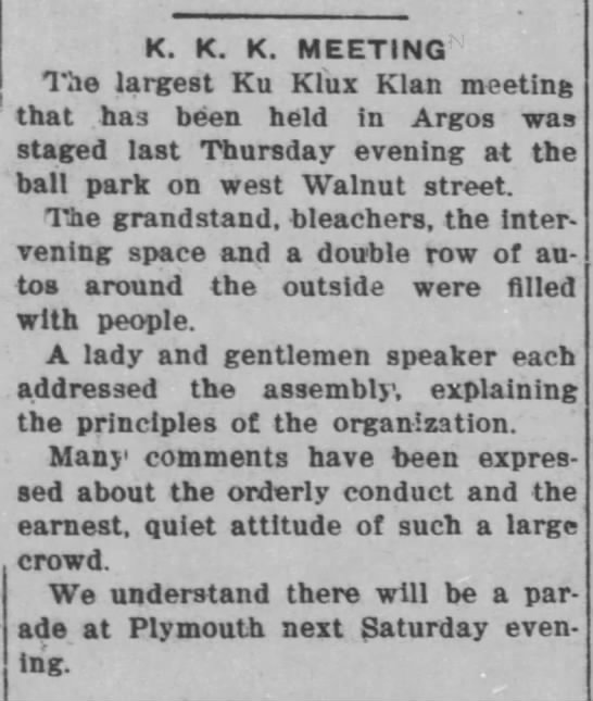 Ku Klux Klan meeting in Argos, Indiana, June 21, 1923. - K. K. K. MEETING The largest Ku Klux Klan...