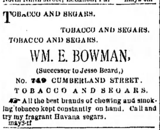 Jesse (Josiah) Beard - successor to his tobacco shop, after his death in March 1882 - rjiOB«(:CO AND BKUABS. TOIJACCO AND TOHACCO AND...