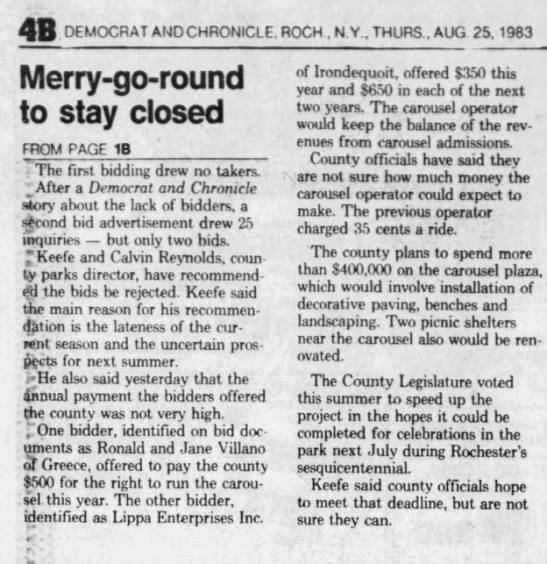 carousel obp 1983 - 4B DEMOCRAT AND CHRONICLE. ROCH . N Y.. THURS.....
