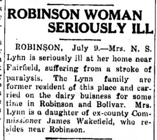 Robinson Woman Seriously ill Mrs N S Lynn - ROBINSON WOMAN SERIOUSLY ILL ROBINSON, July...