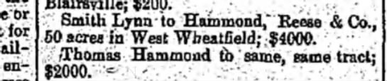 Smith Lynn Indiana Weekly Messenger 18 Feb 1891 - br for railroad engineer, Blairsville; $200....