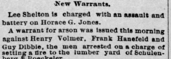 1887-11-22 - Lee Shelton - OS'ew Warrants. Lee Shelton Is charged with an...