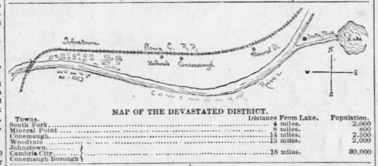 Map of area most affected by Johnstown Flood of 1889 - MAP OF THE DEVASTATED DISTRICT. Towns. Distance...