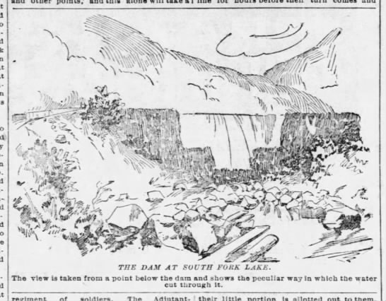 Depiction of the South Fork dam after it failed - The view is taken from a point below the dam...