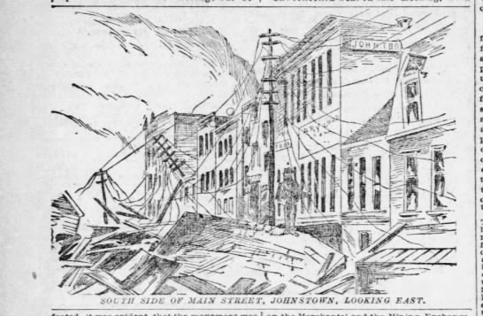 Depiction of damage to Johnstown Main Street after flood of 1889 - bOLIU Hint- Hint- OF MAIN SWEET, JOHNSTOWN,...