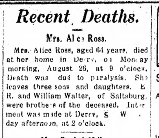 Alice Ross Death Notice - Recent Deattts. Mrs, Ales Ross. Mrs. Alice...