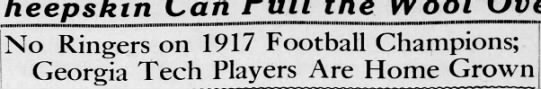 - No Ringers on 1917 Football Champions; Georgia...