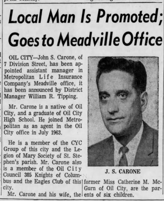 John Carone promotion - R.-'Has- Has-i Local Man Goes to Meadville...