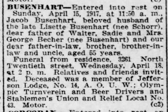 Jacob Busenhart Death and burial - BUSESHART Entered into rust on Sunday, April...