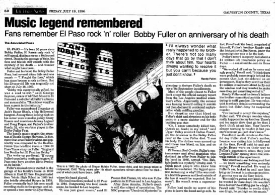 Bobby Fuller 1996 article - 8-B \! \\ FRIDAY, JULY 19, 1996 GALVESTON...