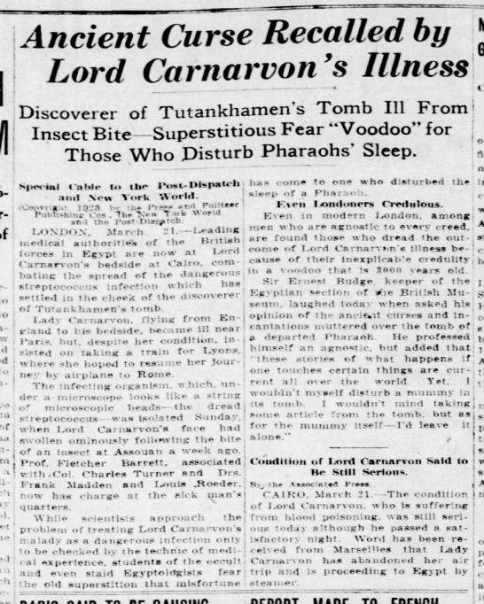 Ancient Curse Recalled by Lord Carnarvon's Illness - Po-Deposits Mar-'i t whK-h whK-h .!.-'tenth to...