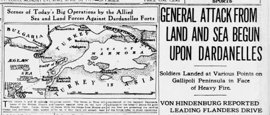 Headlines for the Gallipoli landings - Scenes of Today s Big Operations by the Allied...