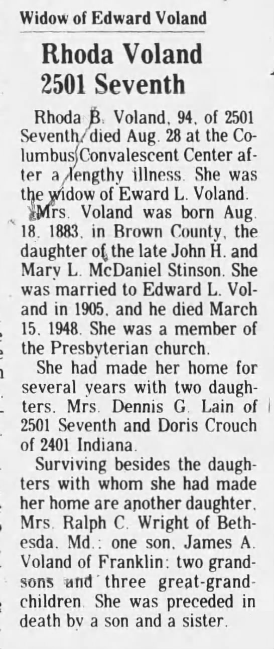 Widow of Edward Voland Rhoda Voland - Widow of Edward Voland Rhoda Voland 2501...