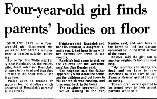 bill randolph murder suicide - Four-year-old girl finds parents' bodies on...