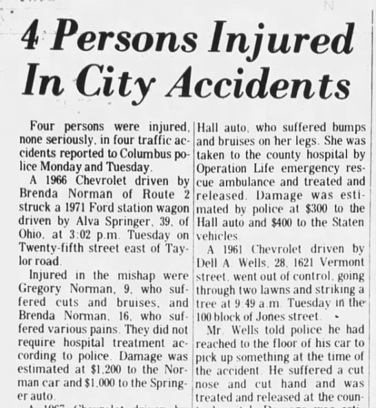 Brenda Norman. Car Accident. - 4 Persons Injured In City Accidents Four...