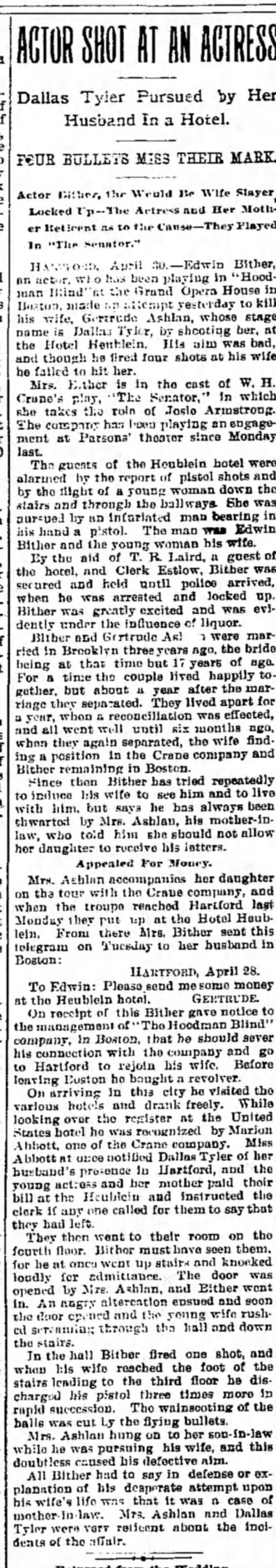 Alfred J Estlow, Hartford CT 1896 - Dallas Tyler Pursued by Her Husband In a Hotel....