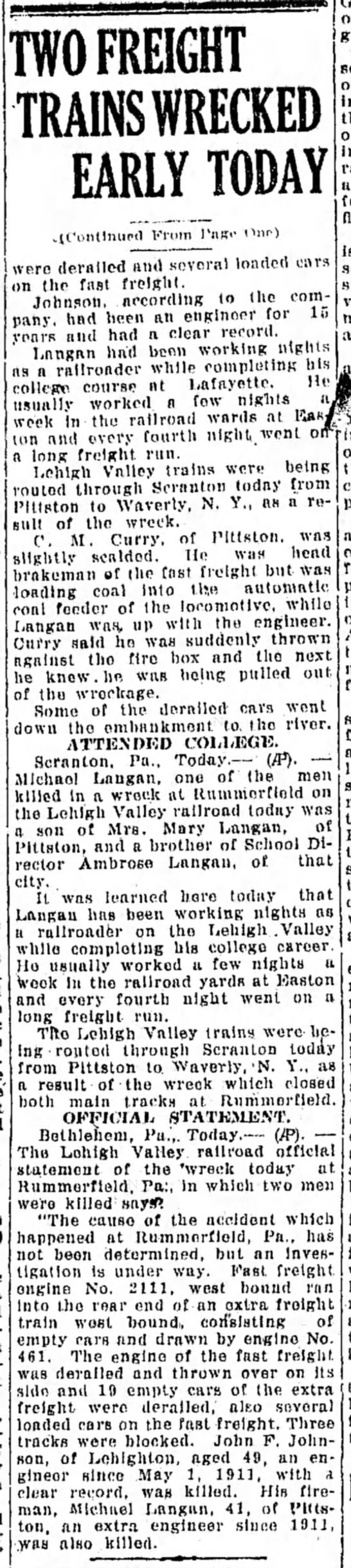 Michael Langan30 December 1926 - TO FREIGHT TRAINS WRECKED EARLY TODAY From Our)...