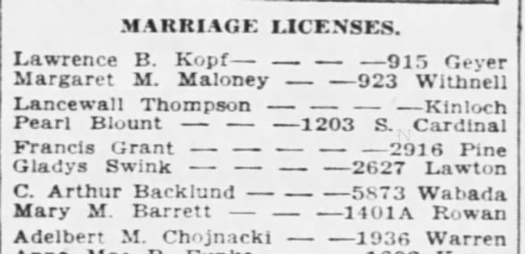 HOHMANN Mary and other husband marriage