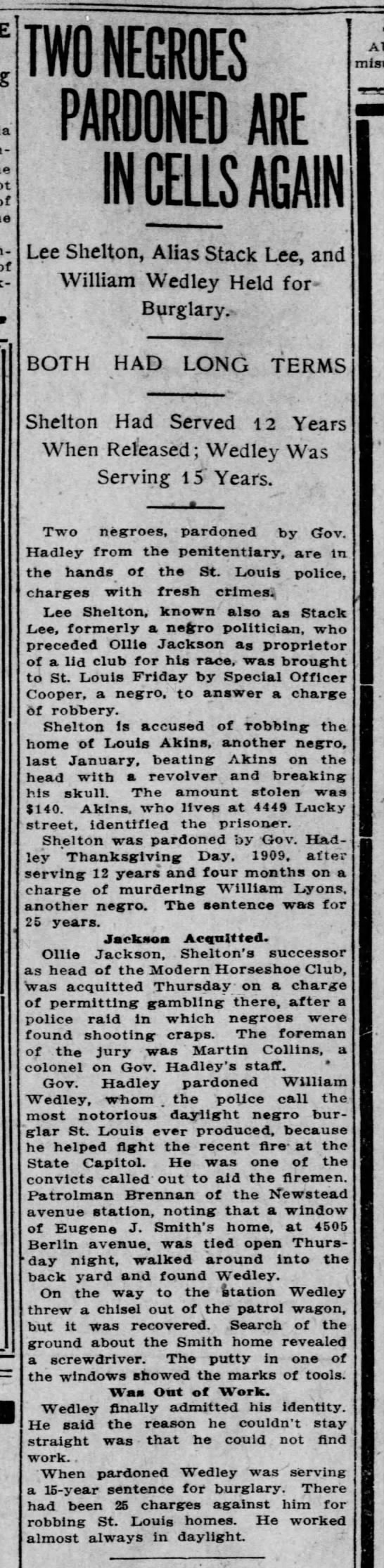 1911-03-17 - Lee Shelton - e-arrested - TWO NEGROES PARDONED ARE IN CELLS AGAIN Lee...