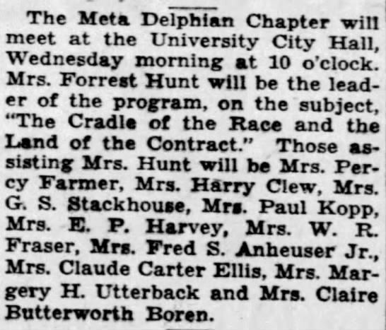 Viola Farmer Assists at Meta Delphian Chapter Meeting, 5 March 1933 St. Louis PD - The Meta Delphian Chapter win meet at the...