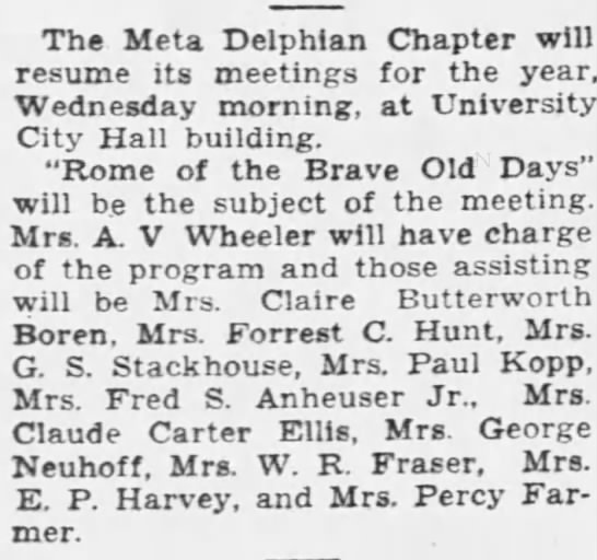 Viola Farmer and Delphian Chapter Meeting ,Sr. Louis Post Dispatch 10 Sept. 1933 - The Meta Delphian Chapter will resume its...