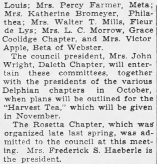 10 Sept 1933 ST. L P D - Louis; Mrs. Percy Farmer, Meta; Mrs. Katherine...