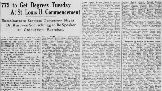 Jo Graduation, St. Louis University 30 May 1948 - 775 to Get Degrees Tuesday At St. Louis U....