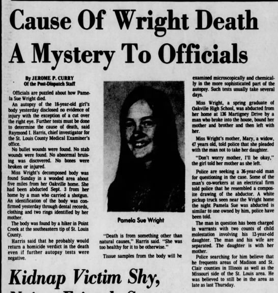 Pamela Sue Wright's death - Cause Of 'Wright Beatth A Mystery To Officials...