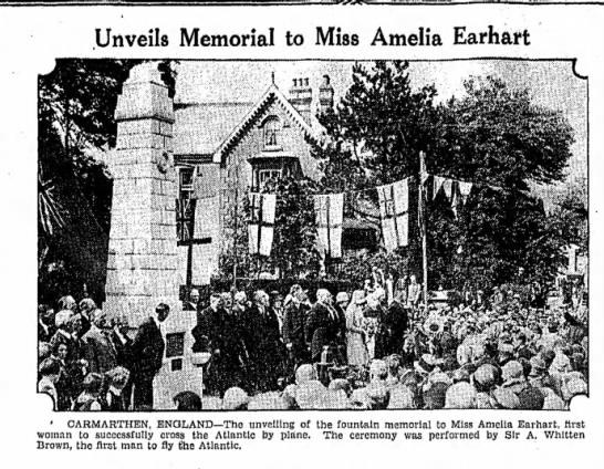 Unveils memorial to miss amelia earhart - Unveils Memorial to Miss Amelia Earhart '...