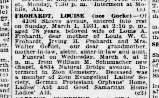 Louisa Goeke Frohardt Obituary - c) 27. of and of m.. (c) Sunday. dear end at.,...