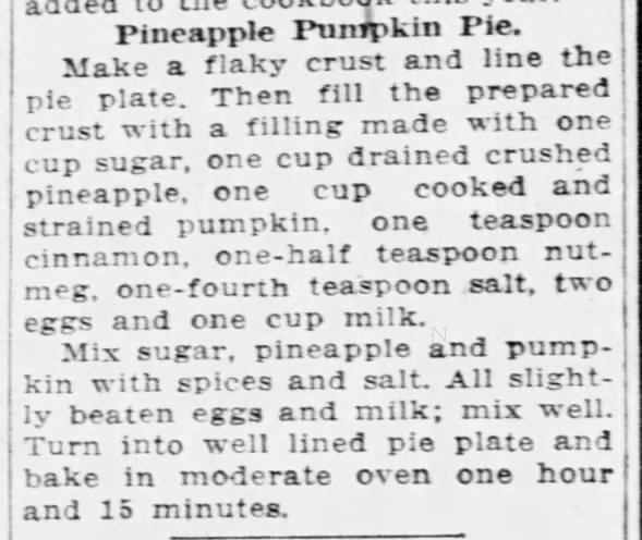 1930: Pineapple pumpkin pie