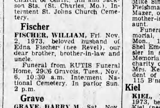 William Fischer - Jack-soi Sts. (St. Charles, Mo.). Interment...