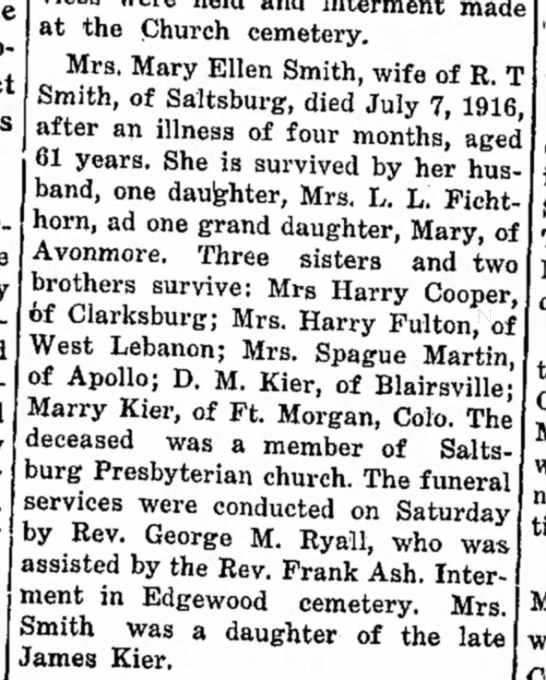 Elle Mary Kier Smith Obit