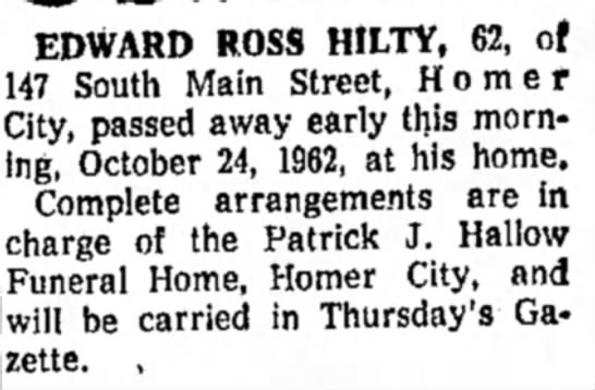 - EDWARD ROSS HILTY, 62, of 47 South Main Street,...