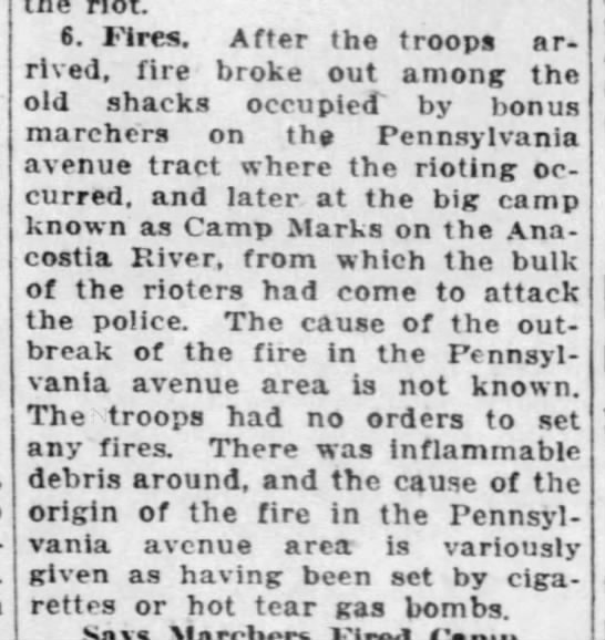 Government account of the fires that burned in the Bonus Army camp - o. .nres. Arter me troops arrived, arrived,...