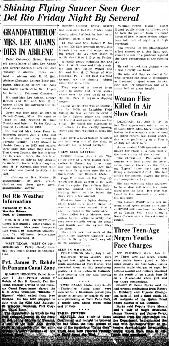 6 July 1947 - Shining Flying Saucer Seen Over Del Rio Friday...